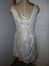 Vintage 60's MOD GO-GO Silver Tinsel Mini Dress Sz S/M