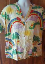 Disney Winnie the Pooh Rainbows Scrub Top Medium Elephants Vet, Nursing Uniform