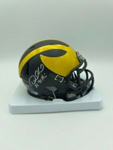 Desmond Howard Signed Michigan Riddell Speed Mini Helmet Heisman 91 Coa/Hologram