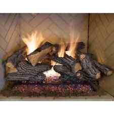 Fireplace Logs Split Oak Vented Natural Gas Log Set 24in Dual Burner 60000 BTU
