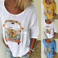 Women Long Sleeve Top Loose Pattern Printed T-shirt Casual Cartoon O-neck Blouse