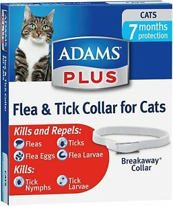 ADAMS PLUS Flea & Tick Breakaway Collar Adjustable 7 MONTH Protection for CATS