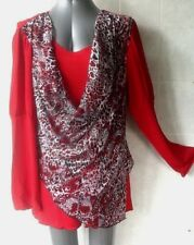 Red Top with Draped Cowl Neck Layer, Long Juliette Sleeves, Plus Size 18 NWOT
