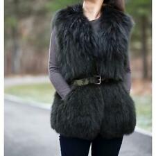 VINCE Women's Black Green Spruce Fox Fur Vest Gilet US 6 UK 10