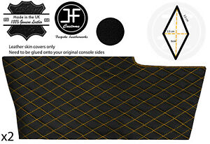 YELLOW DIAMOND STITCH 2X SIDE CONSOLE TUNNEL LEATHER COVER FOR CORVETTE C6 05-13