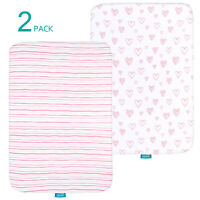 "Pack n Play Playard Sheets 100% Jersey Knit Cotton Stretchy 39"" x 27""  2 Pack"