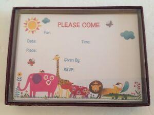 "Papyrus Party Invitations COMPLETE Box 10 Cards/Envelopes ""Juicy Jungle"" 2004"