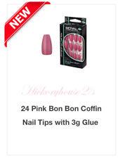 Royal False Pink Bon Bon Coffin 24 Nails Including 3gm Nail Glue NEW*