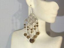 Gemstone Earrings - Smoky Quartz & 925 Sterling Silver - long chandeliers -drops