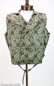 Steampunk Vest Black & Tan Brocade Double Breasted Full Back Victorian Vest