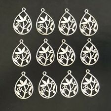 JF18 LOT OF 12 Silver Tone Flower Charms or Pendant - FAST USA SHIPPER