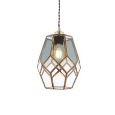 Endon Ripley Cage Pendant Ceiling Light shade only 40W GLS Antique Brass Glass
