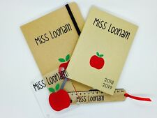 Personalised Teacher Gift set, notebook, diary, ruler, coaster Thankyou FREE P&P