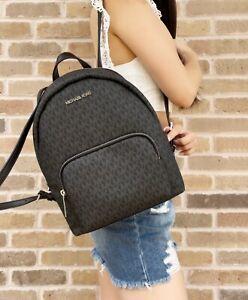 Michael Kors Erin Medium Abbey Backpack Black MK Signature School Bag