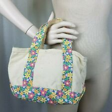 LL Bean Mini Boat & Tote Floral Canvas Bag Purse Handbag Tiny Small USA Maine