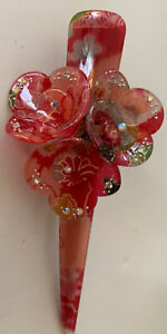 Red Sakura Japanese HAIR clip Kimono acrylic Hair Clip + 1 Free Japan Bath Set