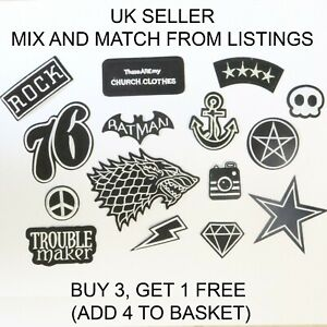 Fashion Patches Black and White Sew Iron On Patch Clothes Applique Craft Bag