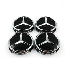 75mm Car Wheel Hub Center Caps Badge Emblem Black Fit For Mercedes-Benz CLS E