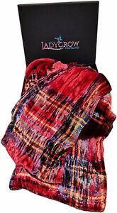 Tartan Silk Velvet Collection Scarf by Ladycrow Scotland - Red Stewart