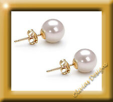 Real White Akoya Pearls CA 6 mm Ear Stud Earring Gold 750 NEW 18 KT