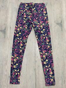 Lularoe OS Leggings Blue W Pink Floral Print BRAND NEW