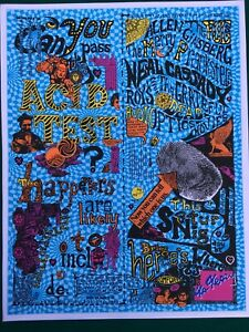 ACID TEST POSTER Signed by Ken Kesey - Grateful Dead Merry Pranksters Ginsberg