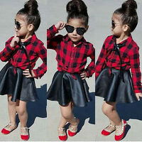 USA Toddler Kids Girls Plaid Tops Shirt Leather Skirt Dress Outfits Set Clothes