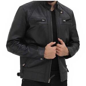 Mens Casual Black Real Supreme Original Leather Retro Style Zipped Biker Jacket
