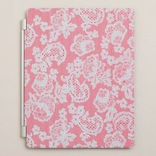 "Ipad Magnetic Cover Blue Fits 9.45"" x 7.67"" Red Lace Cost Plus World Market New!"