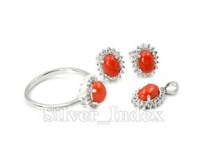 Natural Orange Coral 7X5 mm 925 Sterling Silver Earring Jewelry Set For Women