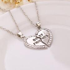 Best Friend Heart Gold Silver Crystal 2 Pendants Necklace Bff Friendship Jewelry