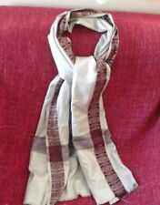 Shawl Scarf Pashmina Wrap Wool Blend Beige With Red Burgundy Border