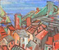 """André TELLIER  - """""""" Ramatuelle """" grande GOUACHE vers 1950/60 """" """" """""""