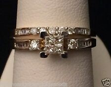 Yellow Gold Quad Princess Cut Round Diamonds Engagement Bridal Set Wedding Ring
