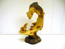 Mmd-164 Leopard Bust Statue Carved Scene Safari Figurine Unison Wood Like