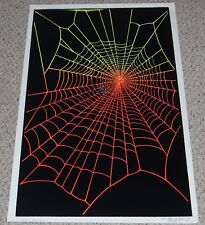 SPIDER'S WEB Spider Horror Halloween Flocked Blacklight Poster 1980 Funky