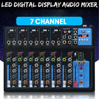 7 Channel Pro bluetooth Live Audio Mixer Sound Mixing LED Display USB Console <