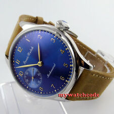 44mm parnis blue dial golden marks ST3600 6497 movement hand winding mens watch