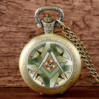 Vintage Masonic Pattern Quartz Pocket Watch Antique Necklace Retro Pendant Chain