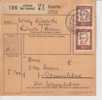 BUND, Mi. 356y, MeF Paketkarte Lühnde ü Hannover, 4.7.62