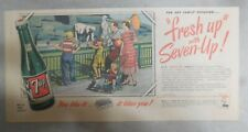 "7-Up Ad: The ""All"" Family Drink ! Family at Zoo ! from 1950's  7.5 x 15 inches"
