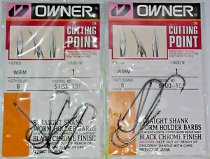 Two 6-Packs Owner 5100-101 Cutting Point Size 1 Straight Shank Worm Hooks