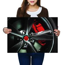 A2 | Car Carbon Alloy Wheel Red Brake Size A2 Poster Print Photo Art Gift #14421