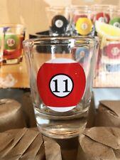 Billard Pool Ball Shot Glass Set - 10 Glasses with Rack Tray - New and Unused