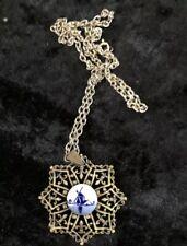 Vintage Brass Delft Porcelain Pendant Jewellery Lot