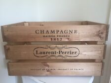 Large Wooden Laurent Perrier  Design Champagne Wine Logs Crate Box Storage Retro