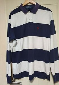 RALPH LAUREN ICONIC POLO SHIRT NAVY WHITE STRIPED XL LONG SLEEVED RUGBY CASUAL