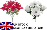 30cm POINSETTIA & ROSE Gold Silver Glitter Bouquet Flower Christmas Ivy 7 Head