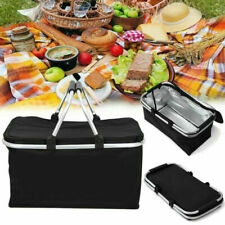 30L Large Insulated Folding Lunch Picnic Bag Camping Cooler Hamper Basket Box