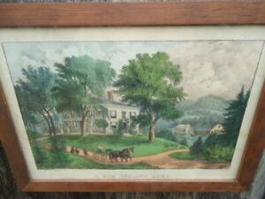 """Antique, original, Currier & Ives """"A New England Home""""  (1850-60)"""